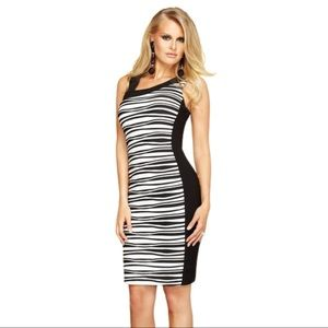 FRANK LYMAN black and white striped dress